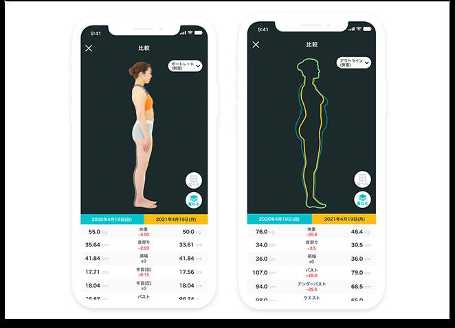 自動採寸アプリsmafy【スマフィー】のアウトラインでの比較サンプル画像