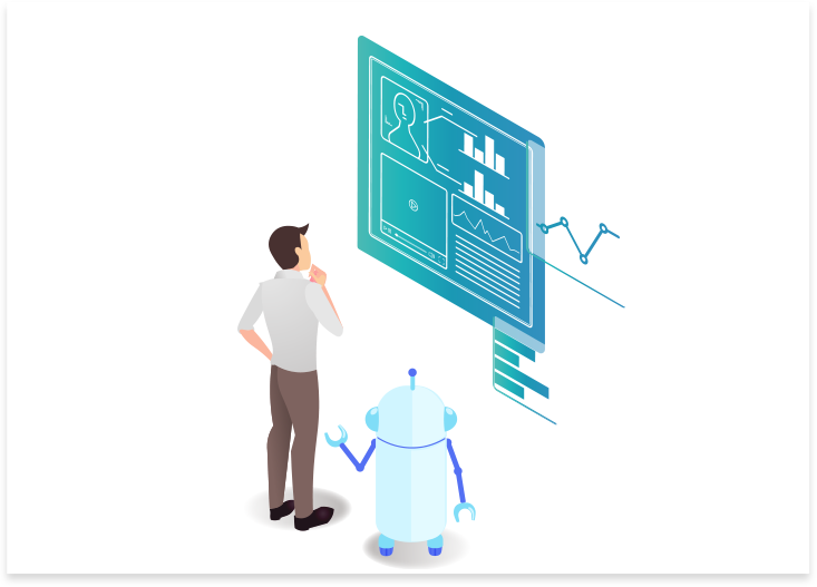 人を手助けするロボットのイラスト